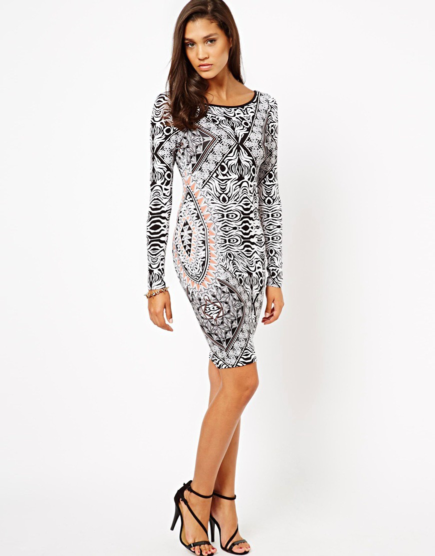 Image 4 of Lipsy Long Sleeve Printed Bodycon Dress
