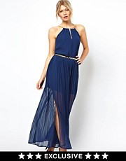 Oasis Chiffon Maxi Dress With Gold Chain