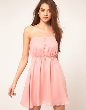 Image 1 ofASOS Strappy Dress With Skater Skirt