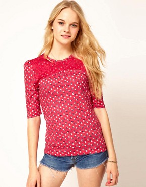 Image 1 ofA Wear Cherry Print Top