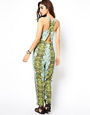 ASOS Africa Printed Jumpsuit with Cross Back Detail