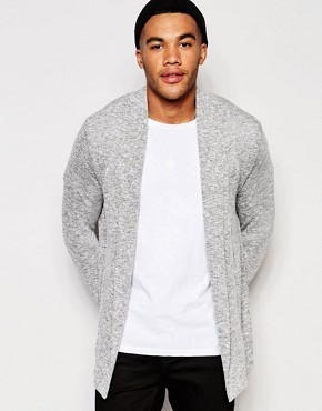 New Look Cardigan With Waterfall Collar In Grey