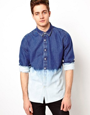 Image 1 of ASOS Denim Shirt With Dip Dye