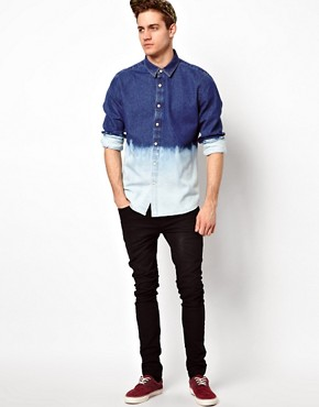 Image 4 of ASOS Denim Shirt With Dip Dye