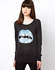 Markus Lupfer Blue Sequin Lips Jumper