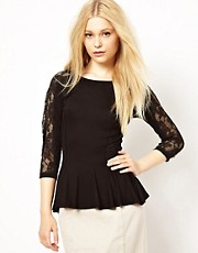 River Island Lace Peplum Top