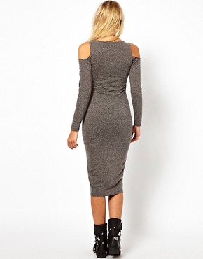 Image 2 ofASOS Bodycon Dress in Nepi with Cold Shoulder