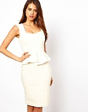 Hybrid Pencil Dress With Sweetheart Neckline and Satin Inserts