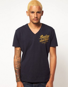 Image 1 ofReplay T-Shirt With V Neck