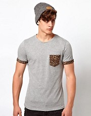 Another Influence T-Shirt with Leopard Pocket