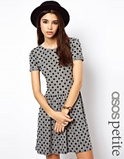 ASOS PETITE Mini Skater Dress In Flocked Spot