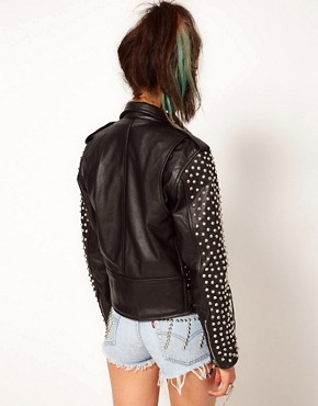Image 2 ofBadlands Leather Extreme Studded Biker Jacket