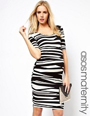 ASOS Maternity Exclusive Bodycon Midi Dress In Mono Stripe