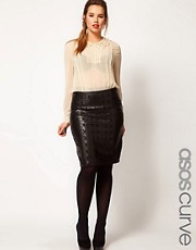 ASOS CURVE Pencil Skirt In Leather Look With Cutwork Detail
