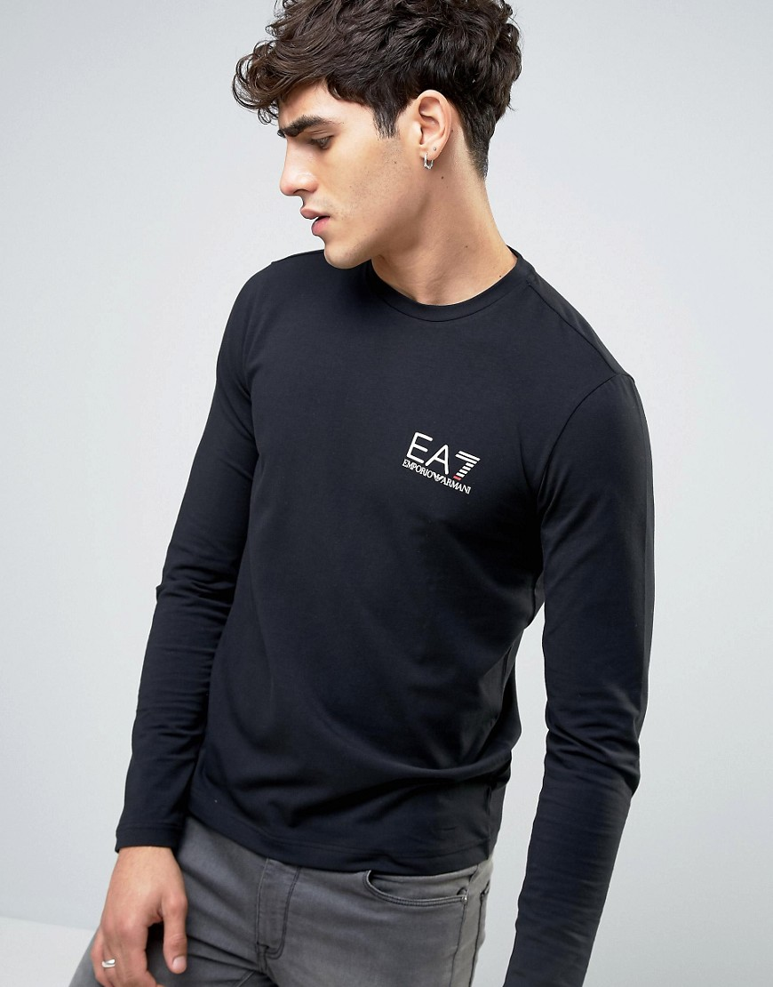 Emporio Armani EA7 Top Long Sleeve Chest Logo Stretch Slim Fit in Black - Black