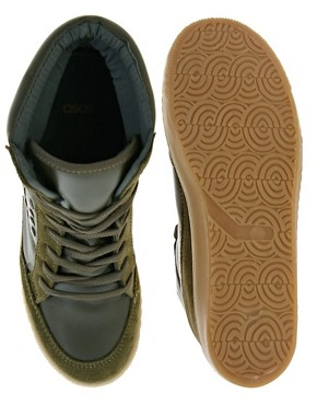 Image 4 ofASOS DENY Studded Wedge High Top Trainers with Suede Detail