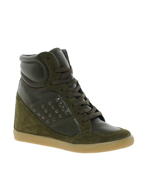 Image 1 ofASOS DENY Studded Wedge High Top Trainers with Suede Detail