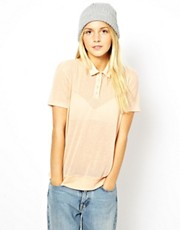 ASOS Polo Top in Sheer Fabric