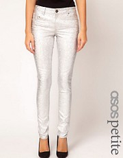 ASOS PETITE Skinny Jeans In Holographic Foil Print