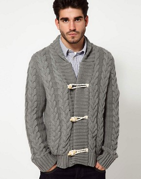 Image 1 ofPepe Jeans Cardigan Shawl Collar Cable Knit