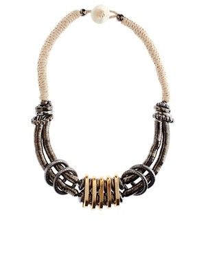 Image 1 ofASOS Cupchain and Cord Statement Necklace