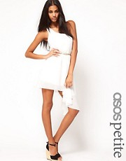ASOS PETITE Exclusive One Shoulder Asymmetric Dress With Belt