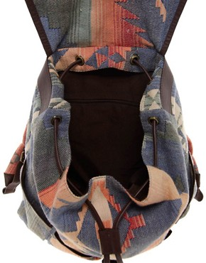 Image 2 ofASOS Hand Woven Leather Trim Backpack