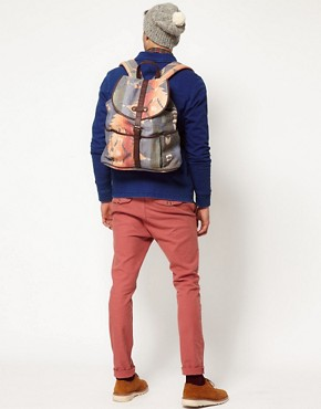 Image 3 ofASOS Hand Woven Leather Trim Backpack