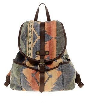 Image 1 ofASOS Hand Woven Leather Trim Backpack