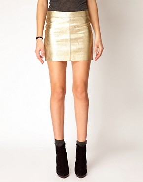 Image 4 ofGanni Leather Mini Skirt in Gold