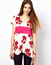 Olivia Rubin Tulip Print T-Shirt with Contrast Silk Zebra Detail