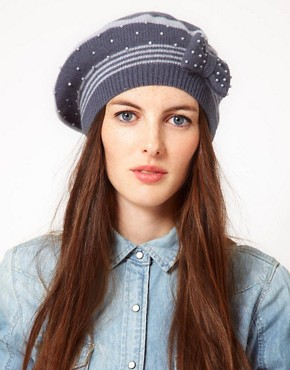 Image 1 ofAlice Hannah Angora &amp; Lambswool Blend Stripe Beanie With Pearl