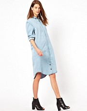 WoodWood Rosemead Oversized Shirt Dress in Denim