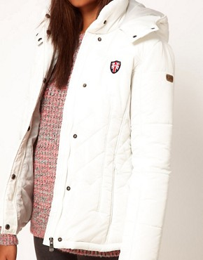 Image 3 of Puffa Hooded Jacket With Quilting Detail