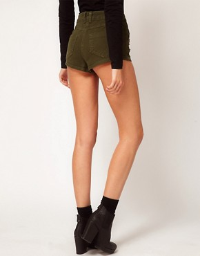 Image 2 ofASOS High Waisted Denim Shorts in Khaki with Studs