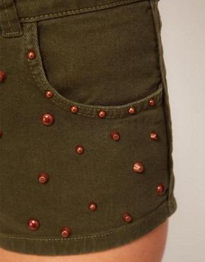 Image 3 ofASOS High Waisted Denim Shorts in Khaki with Studs