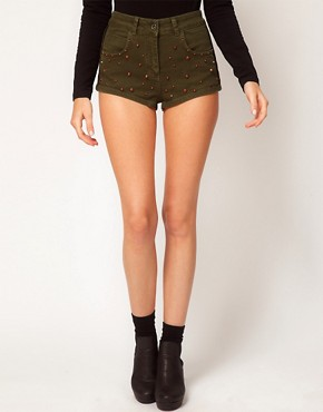Image 4 ofASOS High Waisted Denim Shorts in Khaki with Studs