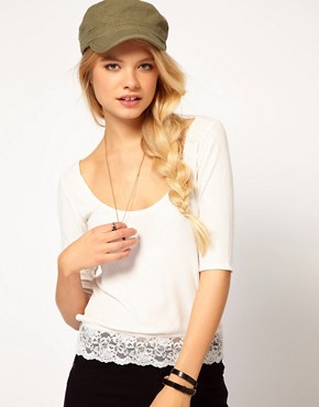 Image 1 ofDenim &amp; Supply By Ralph Lauren Top With Lace Trim