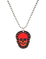 Funky Bling Red Mirror Skull Necklace