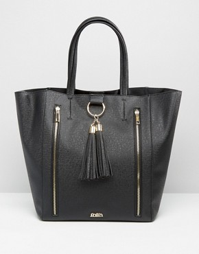 Faith Tassel Front Tote Bag