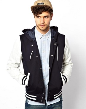 Image 2 ofASOS Varsity Jacket With Hood