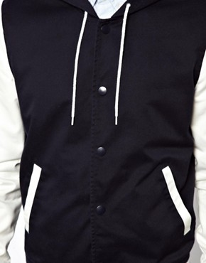 Image 4 ofASOS Varsity Jacket With Hood