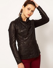 Muubaa Shanazar Laser Cut Leather Jacket