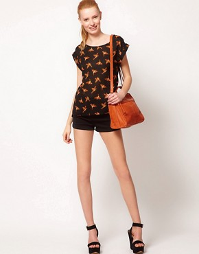 Image 4 ofOasis Bird Print Dipped Hem T-Shirt