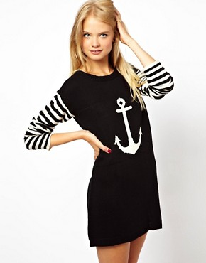 Image 1 ofASOS Anchor Jumper Dress With Striped Sleeves