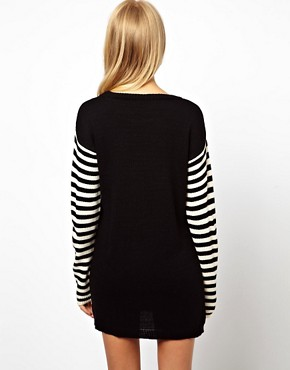 Image 2 ofASOS Anchor Jumper Dress With Striped Sleeves