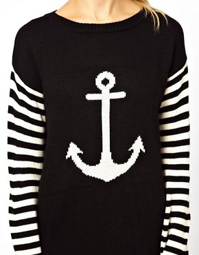 Image 3 ofASOS Anchor Jumper Dress With Striped Sleeves