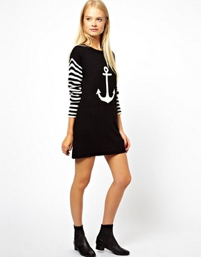 Image 4 ofASOS Anchor Jumper Dress With Striped Sleeves
