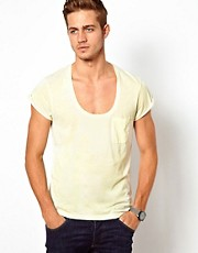 ASOS T-Shirt With Roll Sleeve And Burn Wash