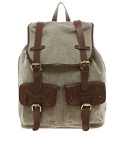 ASOS Canvas And Leather Backpack